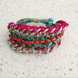 Boho Metal  Braided Studded Wrist Band Bracelet